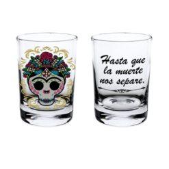 Shot Cristal Calaca de Azucar modelo Flores Transparente