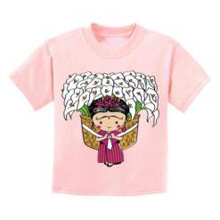Playera Textil Esencia Mexicana modelo Canasta Niña Rosa