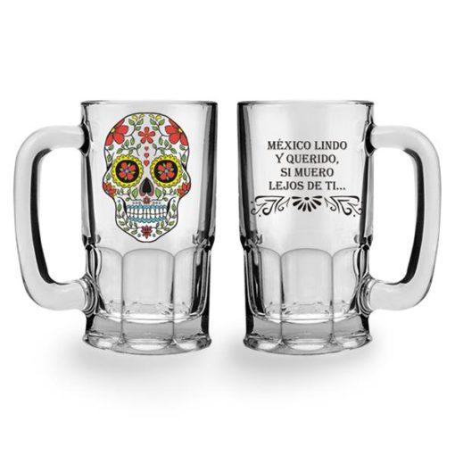 Tarro Cervecero Cristal Calaca de Azucar modelo Corazones Transparente