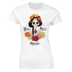 Playera Textil Calaca de Azucar modelo Corazón Espinas Dama Blanco