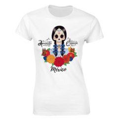 Playera Textil Calaca de Azucar modelo Trenzas Dama Blanco