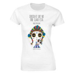 Playera Textil Calaca de Azucar modelo Muñeca Dama Blanco