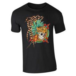 Playera Textil Calaca de Azucar modelo Caballero Jaguar Caballero Negro