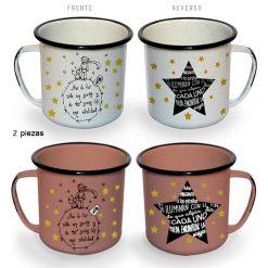 Kit Taza Peltre Color Blanco y Rosa Diseño Estrellas